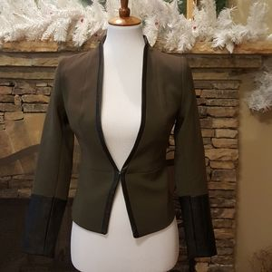 Forest green Blazer jacket with pleather cuffs